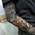 Dragon and Tiger Pattern Tattoo Arm Warmer Sleeves