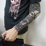 Black And White Skull Pattern Fake Tattoo Arm Warmer Sleeves