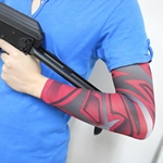 Black And Red Pattern Fake Tattoo Arm Warmer Sleeves