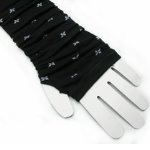 Flower Pattern White Black Warmers Fingerless Gloves