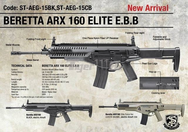 Pre Order for S&T Beretta ARX-160 Elite Assault Rifle EBB
