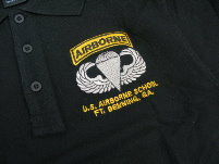 US Special Forces AIRBORNE SCHOOL SEAL Polo Shirt - Black