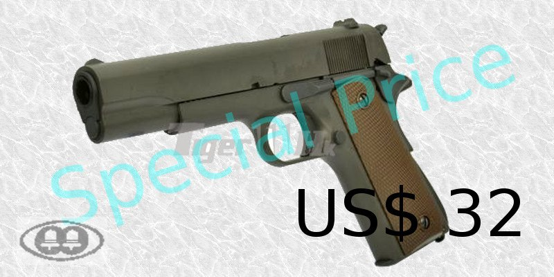 BELL M1911A1 GBB Pistol Green Gas Version (720, Black) cost US$32
