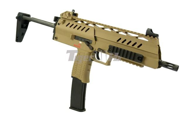 WE SMG-8 GBB ; A&K PKM Real Wood AEG ; WE BULLDOG Px4 GBB WE-GBB-SMG-8-TAN-2a