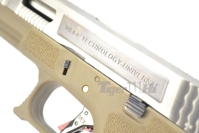 WE G18C GBB Pistol (Silver Slide,Tan Frame,Silver Barrel ... M14 Ebr Silver