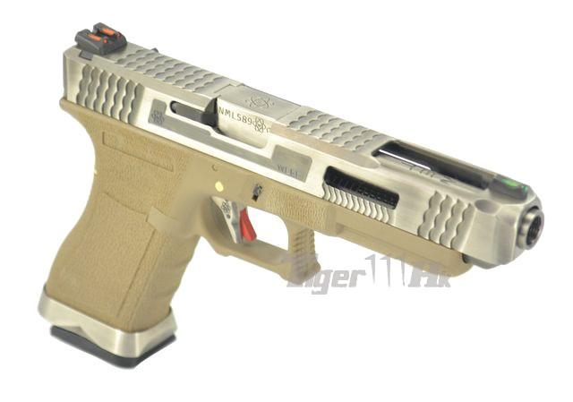 WE G35 GBB Pistol (Sliver Slide, Tan Frame, Sliver Barrel ... M14 Ebr Silver