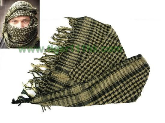 Shemagh Arab Checker Scrim Scarf / Body Cover - Black & TAN