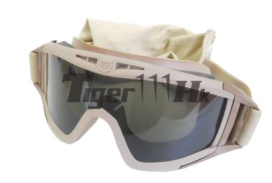 USMC Anti-Fog 3.5mm Tactical Ballistic Goggle with 3 Lens - DE