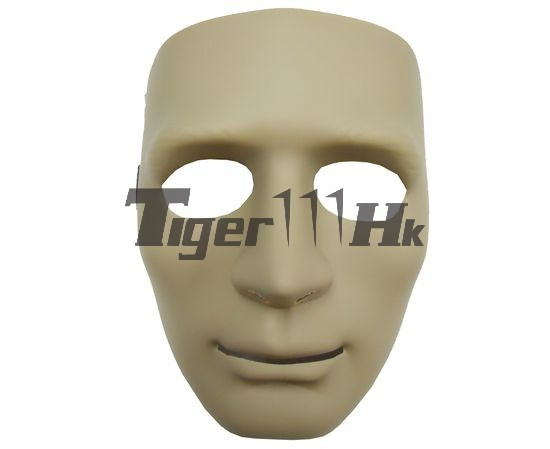 Human Man Full Face Hard Plastic Mask - DARK EARTH