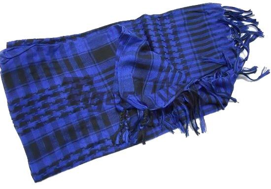 沙地阿拉伯格子花紋圍巾/偽裝掩護–黑+藍色
