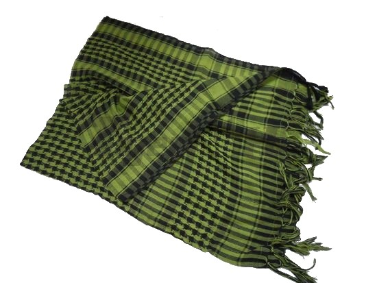 Shemagh Arab Checker Scrim Scarf/Body Cover (BK& Foliage Green)