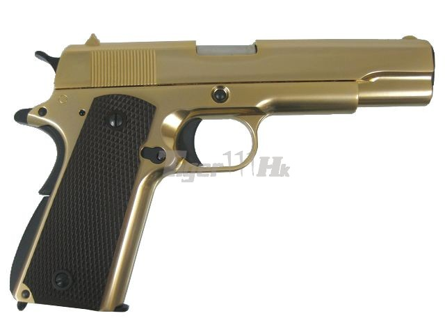 WE COLT M1911A1 Full Metal GBB Pistol (Gold;Brown Grip)