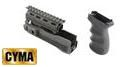 CYMA Upper & Lower Rail Handguard w/ Pistol Grip For AK47(Black)