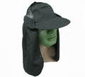 World War II Black Hat with long neck Flap -BK