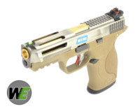 WE BB FORCE T7 B style pistol (SV Slide/GD Barrel/TAN Frame)