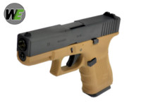 WE G19 Gen4 Rail Steel Silde GBB Pistol (Dark Earth Frame).