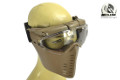 BATTLEAXE Full Face Fan Goggle Mask (Transparent Lens, Tan)