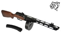 Snow Wolf Real Wood PPSh-41 EBB AEG w/ TWO Magazines (Black)