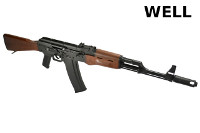 WELL Imitation Wood AK-74 Full Travel Bolt CO2 Blow Back Rifle