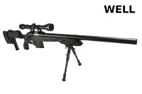 WELL MB4413D Spring Bolt Action Sniper Rifle (Scope & Bipod, BK)