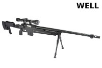 WELL MB4414D Spring Bolt Action Sniper Rifle (Scope & Bipod, BK)