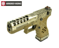 Armorer Works Hex Cut Signature G18C GBB Pistol (Silver Slide)