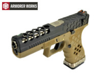 Armorer Works Hex Cut Signature G18C GBB Pistol (Black Slide)