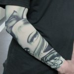 Dark Green & White Woman Eyes Pattern Tattoo Arm Warmer Sleeves