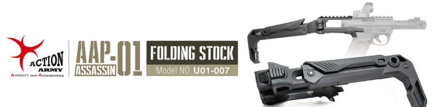 Action Army AAP-01 GBB Pistol U01-007 Folding Stock (Black
