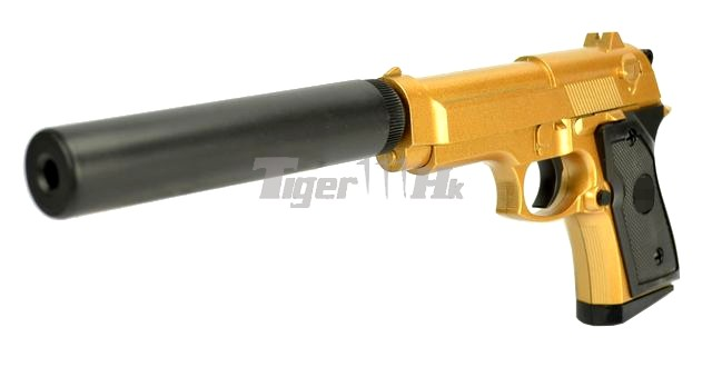sport airsoft metal 821a spring pistol with silencer gold airsoft