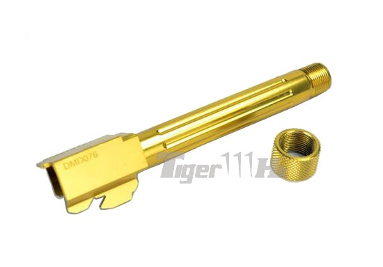 14mm CCW // Gold Airsoft 5KU CNC Threaded Outer Barrel for Marui G17 GBB GB430