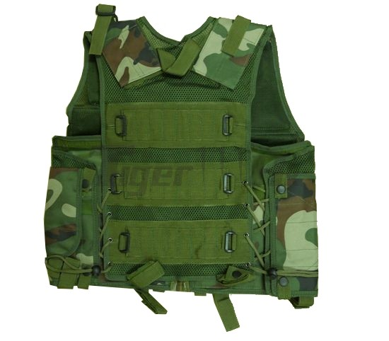 US Army Assault Tactical Vest with Holster (Woodland  Camouflage)