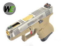 WE G27 GBB Pistol (Silver Slide,Tan Frame,Gold Barrel)