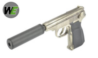 WE Metal MAKAROV GBB Pistol with Silencer (Silver ,with marking)