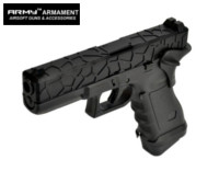Army Alloy Slide R17-1 G17 GBB Pistol with Grip Cover (Black)