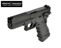 Army Alloy Slide R17-2 G17 GBB Pistol with Grip Cover (Black)