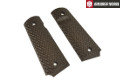 Armorer Works Hexagon Texture Grip Covers For M1911 Pistol (BR)
