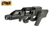 CYMA P90 SMG AEG Rifle with Quad Rail Handguard (Black)