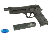 SRC M9 Tactical GBB Pistol & Silencer w/ Inner Barrel (Black)