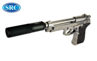 SRC Metal SR92 M9 GBB Pistol with Silencer (Silver)