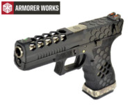 Armorer Works Hex Cut G18C GBB Pistol (Black Slide and Frame)
