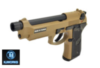 KJ WORKS M9A1 Metal Slide GBB Pistol (Tan)