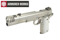 Armorer works M1911 GBB Pistol with Compensator (Silver)